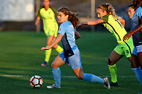 Piscataway, NJ - Saturday August 19, 2017: Daphne Corboz, Beverly Yanez during a regular season National Women's Soccer League (NWSL) match between Sky Blue FC and the Seattle Reign FC at Yurcak Field.