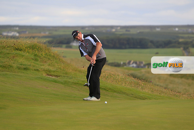 William Hanna (Warrenpoint) on the 1st green during Matchplay Round 1 of the South of Ireland Amateur Open Championship at LaHinch Golf Club on Friday 24th July 2015.<br /> Picture:  Golffile | Thos Caffrey