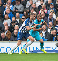 Brighton & Hove Albion's Adam Webster (left) battles for possession with Tottenham Hotspur's Harry Kane (right) <br /> <br /> Photographer David Horton/CameraSport<br /> <br /> The Premier League - Brighton and Hove Albion v Tottenham Hotspur - Saturday 5th October 2019 - The Amex Stadium - Brighton<br /> <br /> World Copyright © 2019 CameraSport. All rights reserved. 43 Linden Ave. Countesthorpe. Leicester. England. LE8 5PG - Tel: +44 (0) 116 277 4147 - admin@camerasport.com - www.camerasport.com