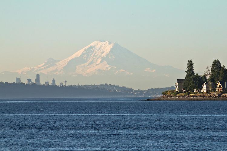Seattle, Mount Rainier, Seattle skyline, Kingston, Puget Sound, Washington State; Pacific Northwest; U.S.A.;