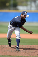 Pitcher Juan Jimenez (33) of the New York Yankees organization during a minor league spring training game against the Toronto Blue Jays on March 16, 2014 at the Englebert Minor League Complex in Dunedin, Florida.  (Mike Janes/Four Seam Images)