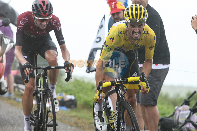 Race leader Julian Alaphilippe (FRA) Deceuninck-Quick Step and Wout Poels (NED) Team Ineos approach the finish on Prat d'Albis during Stage 15 of the 2019 Tour de France running 185km from Limoux to Foix Prat d'Albis, France. 20th July 2019.<br /> Picture: Colin Flockton | Cyclefile<br /> All photos usage must carry mandatory copyright credit (© Cyclefile | Colin Flockton)