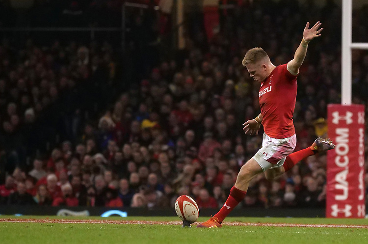 Wales' Gareth Anscombe kicks his sides first conversion<br /> <br /> Photographer Ian Cook/CameraSport<br /> <br /> Under Armour Series Autumn Internationals - Wales v South Africa - Saturday 24th November 2018 - Principality Stadium - Cardiff<br /> <br /> World Copyright © 2018 CameraSport. All rights reserved. 43 Linden Ave. Countesthorpe. Leicester. England. LE8 5PG - Tel: +44 (0) 116 277 4147 - admin@camerasport.com - www.camerasport.com