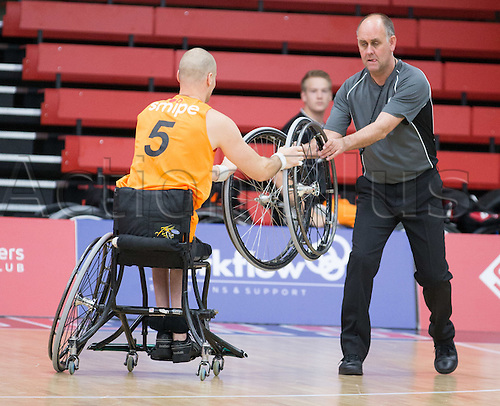 03.07.2016. Leicester Sports Arena, Leicester, England. Continental Clash Wheelchair Basketball Holland versus Australia. Walter Groen (NLD) replaces his flat tyre with help from a mechanic