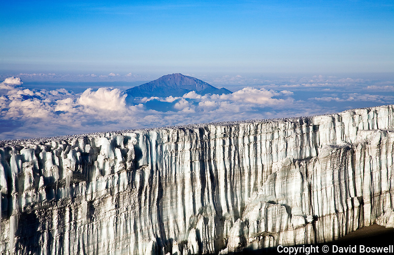 The Southern Icefield, seen from Stella Ridge on Mount Kilimanjaro.  Mount Meru is seen in the background.