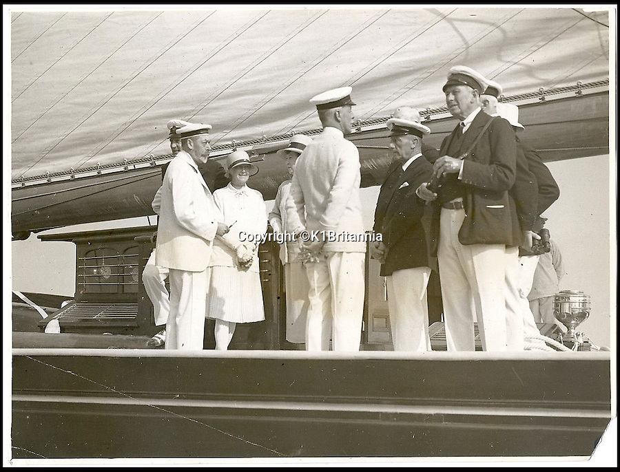 BNPS.co.uk (01202 558833)<br /> Pic: K1Britannia/BNPS<br /> <br /> ***Please Use Full Byline***<br /> <br /> Far Left: Kinf George V onboard the Britannia c.1931. <br /> <br /> An 8 million pounds appeal has been launched to resurrect one of the most famous and best loved racing yachts of all time - the 'King's yacht' Britannia.<br /> <br /> The historic 177ft yacht was built for playboy prince Albert in 1893 and became an instant star of the sailing scene, winning 33 of 43 prestigious races  in her first year alone.<br /> <br /> The stunning Royal yacht became known the world over and enjoyed an illustrious racing career at the hands of Albert, who went on to become King Edward VII.<br /> <br /> Edward's son George V continued the love affair with Britannia, dubbed 'the King's yacht', so much so that on his death in 1936 she was deliberately sunk off the Isle of Wight.<br /> <br /> Now, 78 years on, campaigners are nearing the final stages of a project to complete an an inch-perfect replica of Britannia which has been 20 years in the making.<br /> <br /> The instantly recognisable hull is finished but around six million pounds is needed to transform it into a yacht worthy of Royalty. <br /> <br /> The yacht, which will cost an extra one million pounds a year to run, will then be taken all round the world so it can be enjoyed by charities and future generations.