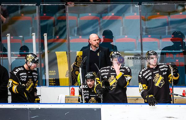 Stockholm 2014-03-29 Ishockey Kvalserien AIK - Malm&ouml; Redhawks  :  <br /> AIK:s tr&auml;nare Mattias Norstr&ouml;m , AIK:s Jordan Hendry , AIK:s Brett Carson , AIK:s Fredrik Svensson och AIK:s Christopher Aspeqvist ser nedst&auml;mda ut<br /> (Foto: Kenta J&ouml;nsson) Nyckelord:  AIK Gnaget Malm&ouml; Redhawks depp besviken besvikelse sorg ledsen deppig nedst&auml;md uppgiven sad disappointment disappointed dejected