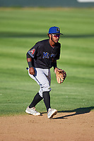 Missoula Osprey shortstop Jose Reyes (20) during a Pioneer League game against the Great Falls Voyagers at Centene Stadium at Legion Park on August 19, 2019 in Great Falls, Montana. Missoula defeated Great Falls 4-1 in the first game of a doubleheader. Games were moved from Missoula after Ogren Park at Allegiance Field, the Osprey's home field, was ruled unplayable. (Zachary Lucy/Four Seam Images)