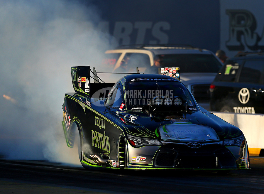 Feb 3, 2016; Chandler, AZ, USA; NHRA funny car driver Alexis DeJoria during pre season testing at Wild Horse Pass Motorsports Park. Mandatory Credit: Mark J. Rebilas-USA TODAY Sports