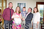CHRISTENING: Proud parents Marguerite and David Field, Abbeydorney of little Caoimhe who was Christened by Fr Denis O'Mahony at St Bernard's Church, Abbeydorney and celebrated with family and friends at he Ballyroe Heights hotel, Tralee on Saturday l-r: Kieran Dineen, Marguerite, Caoimhe, Joesph and David Field and Andrea Quirke.