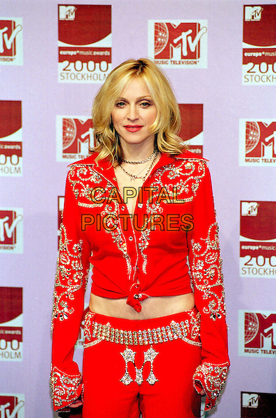 MADONNA ..MTV Awards..red country and western outfit, half length, half-length..www.capitalpictures.com..sales@capitalpictures.com..©Capital Pictures