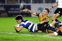 Adam Hastings of Bath United reaches for the try-line. Aviva A-League match, between Bath United and Bristol United on September 19, 2016 at the Recreation Ground in Bath, England. Photo by: Patrick Khachfe / Onside Images