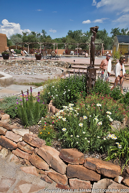 Visitors at the Ojo Caliente Mineral Springs Resort and Spa in northern New Mexico can wander through a courtyard leading to several different pools and soaking areas.