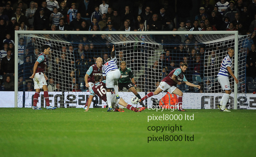 Djibril Cisse of Queens Park Rangers in action during the Barclays Premier League match between West Ham United and Queens Park Rangers at Loftus Road on Monday ,01 October 2012 in London, England. Picture Zed Jameson/pixel 8000 ltd