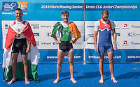 Rotterdam. Netherlands.   Non Olympic Classes World Championships, Finals. Centre Gold medalist,  IRL LM1X.   Paul O'DONOVAN,   at the Willem-Alexander Baan.   Saturday  27/08/2016 <br /> <br /> [Mandatory Credit; Peter SPURRIER/Intersport Images]