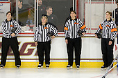 All female officiating crew - Bridget Waitkus, Jean Goodwin, Danyel Howard and Carol Weston. - The Boston College Eagles defeated the visiting University of Connecticut Huskies 3-0 on Sunday, October 31, 2010, at Conte Forum in Chestnut Hill, Massachusetts.
