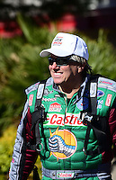 Oct. 26, 2012; Las Vegas, NV, USA: NHRA funny car driver John Force during qualifying for the Big O Tires Nationals at The Strip in Las Vegas. Mandatory Credit: Mark J. Rebilas-