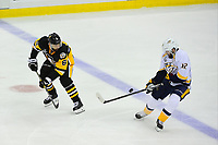 May 31, 2017: Pittsburgh Penguins defenseman Trevor Daley (6) and Nashville Predators center Mike Fisher (12) work for the puck in the neutral zone during game two of the National Hockey League Stanley Cup Finals between the Nashville Predators  and the Pittsburgh Penguins, held at PPG Paints Arena, in Pittsburgh, PA. The Penguins defeat the Predators 4-1 and lead the series 2-0. Eric Canha/CSM