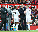 Sunderland's David Moyes speaks to Jermain Defoe during the Premier League match at Old Trafford Stadium, London. Picture date December 26th, 2016 Pic David Klein/Sportimage