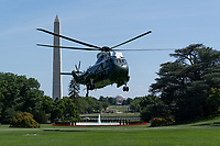 Marine One, with United States President Donald J. Trump aboard, returns to the White House in Washington, DC after a trip to Camp David and a stop at his golf course in Sterling, Virginia on Sunday, June 23, 2019.<br /> Credit: Chris Kleponis / Pool via CNP /MediaPunch