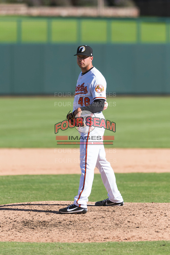 Glendale Desert Dogs relief pitcher Jay Flaa (48), of the Baltimore Orioles organization, looks in for the sign during an Arizona Fall League game against the Mesa Solar Sox at Camelback Ranch on October 15, 2018 in Glendale, Arizona. Mesa defeated Glendale 8-0. (Zachary Lucy/Four Seam Images)