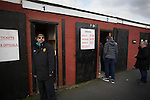 Spectators arriving at the turnstiles before Prescot Cables played Brighouse Town in a Northern Premier League division one north fixture at Valerie Park. Founded in 1884, the 'Cables' in their name came from the largest local employer, British Insulated Cables and they have played in their current ground, also known as Hope Street, since 1906. Prescott won the match 2-1 watched by a crowd of 189.