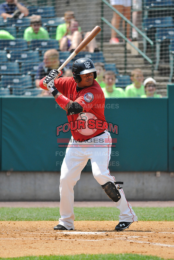 Reynaldo Rodriguez (16) of the New Britain Rock Cats bats during a game against the Altoona Curve at New Britain Stadium on July 23, 2014 in New Britain, Connecticut.  Altoona defeated New Britain 8-5. (Gregory Vasil/Four Seam Images)