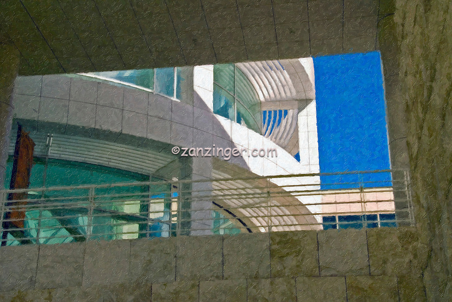 Contemporary Modern Stone Steel & Glass Building, Digital oil painted texture,  Beautiful, Unique