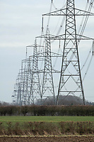 Electricity pylons running over farmland <br /> &copy;Tim Scrivener Photographer 07850 303986<br />      ....Covering Agriculture In The UK....