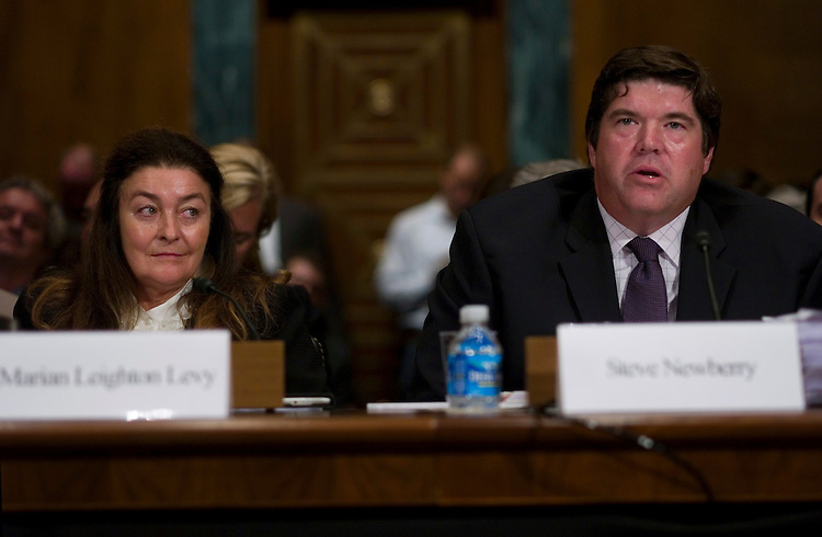 """WASHINGTON, DC - August 04: Marian Leighton-Levy, owner of Rounder Records; and Steve Newberry, of the National Association of Broadcasters; during the Senate Judiciary hearing on the """"Performance Rights Act.""""  (Photo by Scott J. Ferrell/Congressional Quarterly)"""