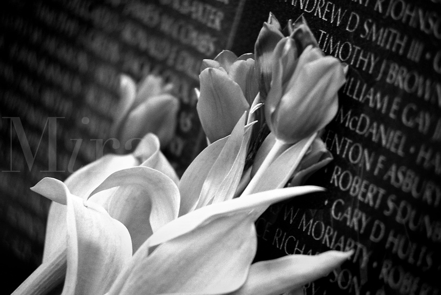 Black & white image of flowers by the Vietnam War Memorial. Washington DC District of Columbia United States.