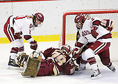 Anna McDonald (Harvard - 10), Corinne Boyles (BC - 29), Josephine Pucci (Harvard - 2), Ashley Motherwell (BC - 18) - The Harvard University Crimson defeated the Boston College Eagles 5-0 in their Beanpot semi-final game on Tuesday, February 2, 2010 at the Bright Hockey Center in Cambridge, Massachusetts.