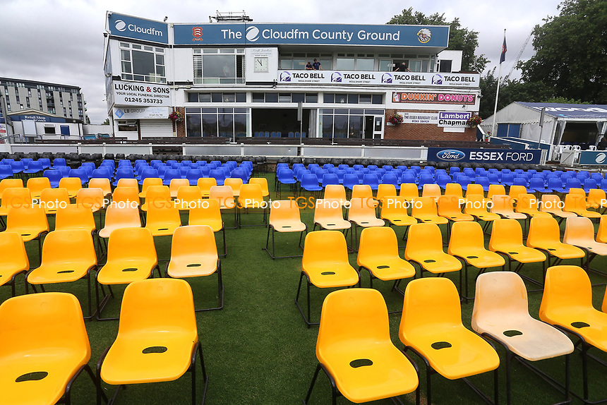 General view of empty seats on front of the pavilion ahead of Essex Eagles vs Glamorgan, NatWest T20 Blast Cricket at The Cloudfm County Ground on 16th July 2017