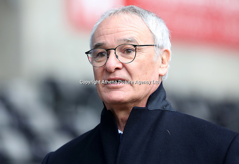 Leicester City manager Claudio Ranieri prior to kick off of the Premier League match between Swansea City and Leicester City at The Liberty Stadium, Swansea, Wales, UK. Sunday 12 February 2017