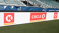 Cary, North Carolina  - Saturday August 05, 2017: Circle K signboard prior to a regular season National Women's Soccer League (NWSL) match between the North Carolina Courage and the Seattle Reign FC at Sahlen's Stadium at WakeMed Soccer Park. The Courage won the game 1-0.