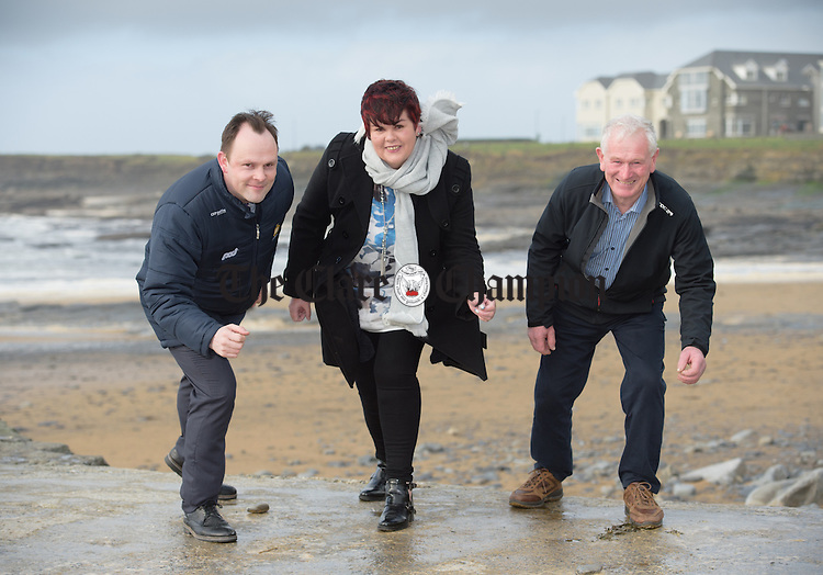 On Your Marks....Frank Minogue, event Organiser,  with Geraldine Hansbury, a service user with Slainte An Chláir and James Mc Mahon, Burren Sub Aqua Club at the launch of the John Minogue Memorial 8km walk  and run, and 40km cycle, which is on February 7th starting at the Square Miltown Malbay from 11am and taking in views of The Wild Atlantic Way. The proceeds of the event will go to Slainte An Chlair, Burren Sub Aqua Club and Clare Cystic Fibrosis Ireland. Photograph by John Kelly.