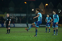 Sido Jombati of Wycombe Wanderers scores his side's winning goal during the Sky Bet League 2 match between Newport County and Wycombe Wanderers at Rodney Parade, Newport, Wales on 22 November 2016. Photo by Mark  Hawkins.