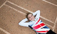 26 MAY 2015 - IPSWICH, GBR - Charlie-Jane Herbert of Ipswich Cycle Speedway Club, the British 2014 Individual Women's Cycle Speedway champion, at the club's track at Whitton Sports and Community Centre in Ipswich, Suffolk, Great Britain. Herbert moved to Ipswich from Exeter at the beginning of the year to be with Hill who she met through the sport (PHOTO COPYRIGHT © 2015 NIGEL FARROW, ALL RIGHTS RESERVED)