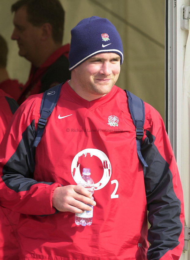 Photo. © Peter Spurrier/Richard Lane Photography.03/03/2004 Six Nations Rugby England Training- ENG v IRL. Pennyhill Park- Bagshot.Phil Vickery, enjoys a drink, before the morning training session....