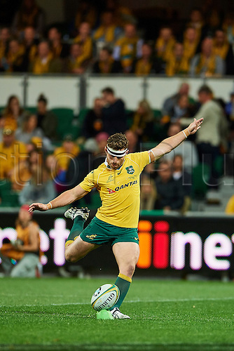 17.09.2016. Perth, Australia.  Bernard Foley of the Qantas Wallabies scores a conversion during the Rugby Championship test match between the Australian Qantas Wallabies and Argentina's Los Pumas from NIB Stadium - Saturday 17th September 2016 in Perth, Australia.