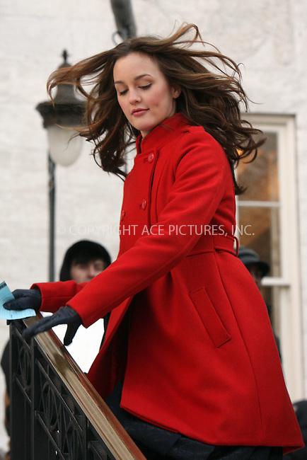 WWW.ACEPIXS.COM . . . . .  ....December 18 2008, New York City....Actress Leighton Meester on the set of the TV show 'Gossip Girl' on December 18 2008 in New York City....Please byline: AJ Sokalner - ACEPIXS.COM..... *** ***..Ace Pictures, Inc:  ..tel: (212) 243 8787..e-mail: info@acepixs.com..web: http://www.acepixs.com