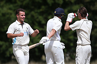 Goresbrook players celebrate taking the third Upminster wicket during Goresbrook CC vs Upminster CC (batting), Essex Cricket League at May & Baker Sports Club on 1st August 2020