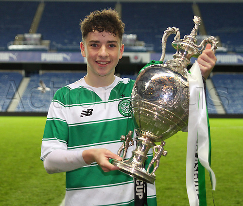 28.04.2016. Ibrox Stadium, Glasgow, Scotland. Youth Glasgow Cup Final. Rangers U17 versus Celtic U17. Goalscorer Michael Johnston with the trophy