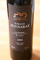 A bottle of Terras de Monsaraz from Alentejo VQPRD red wine from Portugal, Europe