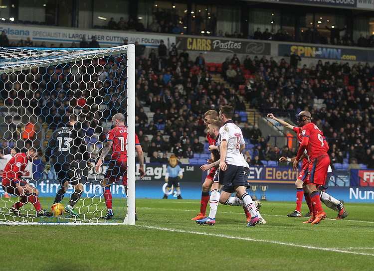 Bolton Wanderers Mark Beevers scores his sides first goal  <br /> <br /> Photographer Mick Walker/CameraSport<br /> <br /> The EFL Sky Bet League One - Bolton Wanderers v Rochdale - Tuesday 14th February 2017 - Macron Stadium - Bolton<br /> <br /> World Copyright &copy; 2017 CameraSport. All rights reserved. 43 Linden Ave. Countesthorpe. Leicester. England. LE8 5PG - Tel: +44 (0) 116 277 4147 - admin@camerasport.com - www.camerasport.com