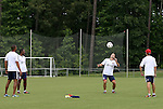04 June 2012: The coaching staff juggled the ball around after practice. From left: head coach Robin Fraser, assistant coach Carlos Llamosa (COL), assistant coach Greg Vanney, and strength and conditioning coach Jim Liston. Chivas USA held a training session on Field 6 at WakeMed Soccer Park in Cary, NC the day before playing in a 2012 Lamar Hunt U.S. Open Cup fourth round game.