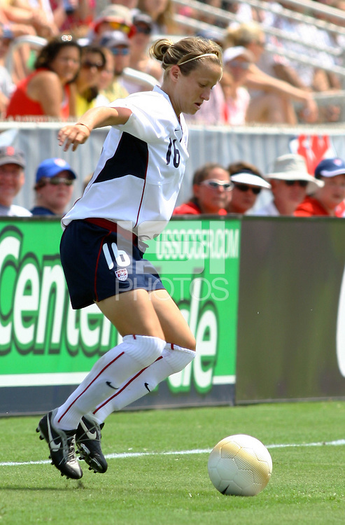 Megan Rapinoe traps the ball. The USA defeated Canada 2-0 at SAS Stadium in Cary, NC on Sunday, July 30, 2006.