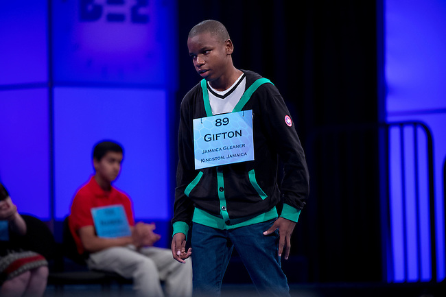 Speller 89 Gifton Samuel Wright correctly spells his third word in the semi-final rounds of the Scripps National Spelling Bee at the Gaylord National Resort and Convention Center in Oxon Hill, Md., on Thursday,  May 31, 2012. Photo by Bill Clark