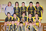 St Joseph's team that defeated St Annes in the u14 boys Kerry Area Basketball Juvenile Plate Final in Killarney on Sunday front row l-r: Conor Horgan, Conor Horan, Oisin Mangan. Middle row: David O'Neill, Sean Scanlon, Carraig McNulty, Tomas Sexton, Peter Collins. Back row: Ann Scanlon, James O'Sullivan, Denis Stack, Eoin Lucey, Eamon Prenderville...