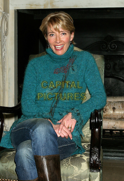 """EMMA THOMPSON.Does a reading from the book """"Nurse Matilda"""" at The New York Public Library, New York, USA..January 25th, 2006 .Ref: IW.half length turtleneck poloneck turquoise blue sitting.www.capitalpictures.com.sales@capitalpictures.com.©Capital Pictures"""